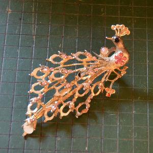 huge vintage rhinestone peacock hair clip barrette